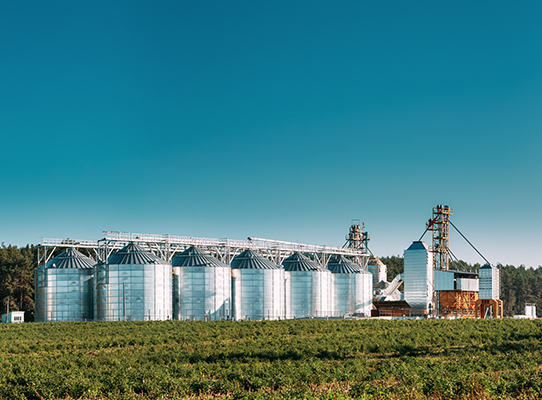 Image of silos from a distance